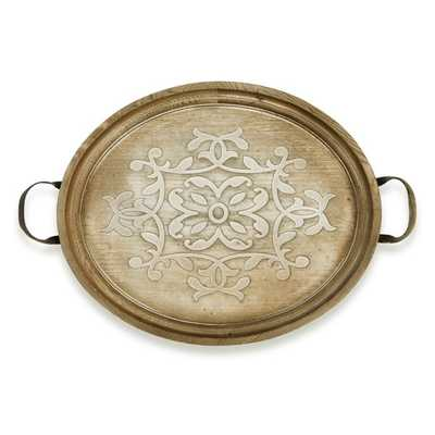 TY Nightingale Decorative Round Wood Tray - Mercer Collection