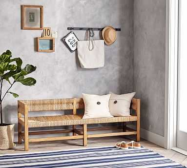 Malibu Woven Bench, Honey - Pottery Barn