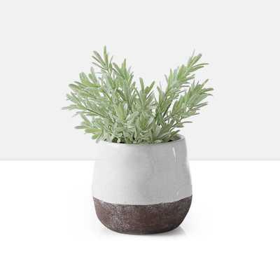 """Corsica Ceramic Crackle 2 Tone 4"""" Round Pot in White - Burke Decor"""