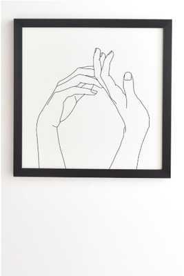 HANDS LINE DRAWING ABI- black frame 13x13 FINAL FRAMED SIZE - Wander Print Co.