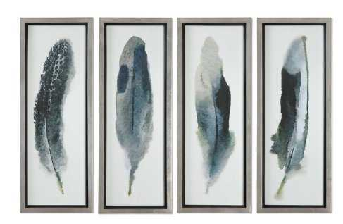'Feathered Beauty Prints' 4 Piece Framed Graphic Art Set on Glass - Wayfair
