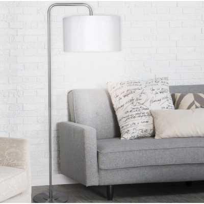 "Dale 63.75"" Arched/Arc Floor Lamp-Brushed Nickel/White Silk - Wayfair"