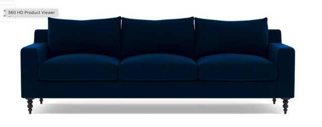 SLOAN 3-Seat Sofa//Performance Velvet Navy//Performance Velvet//Double down blend/Matte Black Tapered Turned Wood - Interior Define