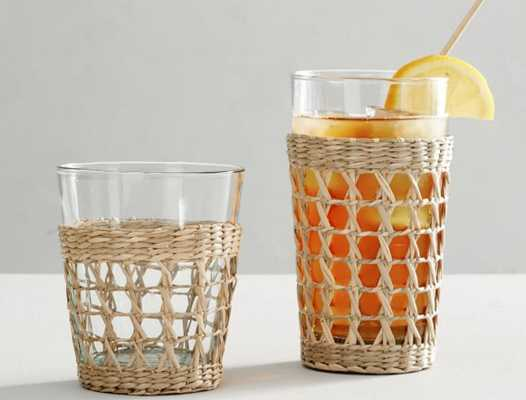 Cane Recycled Drinking Glasses - Set of 6 - Pottery Barn