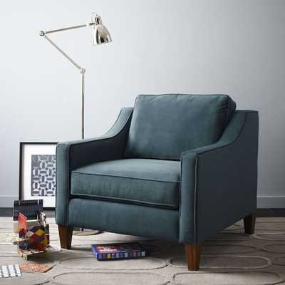 Paidge Armchair, Twill, Teal, Taper Chocolate - West Elm