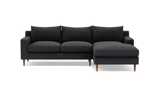 SLOAN Right Chaise Sectional in Coal with Oiled Walnut Tapered Round Wood Legs - Interior Define