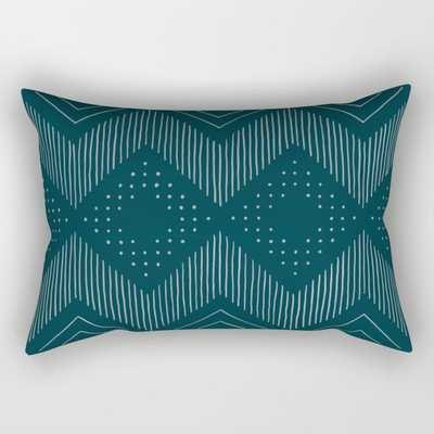 Teal Tribal Rectangular Pillow by michiko_design - Society6