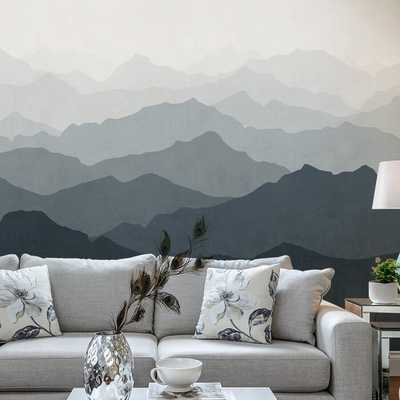 Mountain Mural 5 Piece Wallpaper Panel Set - Grayish Navy - Wayfair