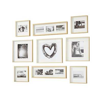 Brushed Brass Picture Frame Gallery, Set of 9 - Crate and Barrel