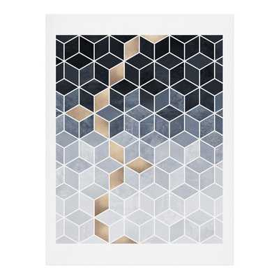 Soft Blue Gradient Cubes PRINT - Wander Print Co.