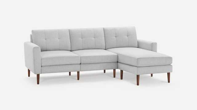 Block Nomad Sofa Sectional - Crushed Gravel - Walnut - Burrow