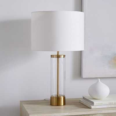 Acrylic Column Table Lamp + USB, Antique Brass-Individual - West Elm