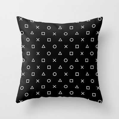 Gamer Pattern (White on Black) Throw Pillow - Society6