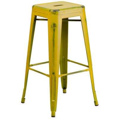"Lompoc 30"" SH barstool - distressed yellow - AllModern"