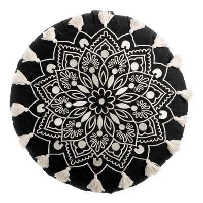Round Black And White Mandala Embroidered Throw Pillow - World Market/Cost Plus