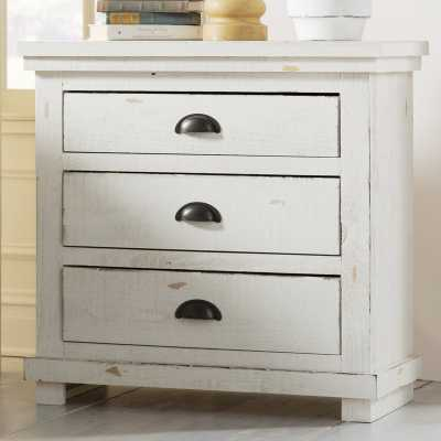 Castagnier 3 Drawer Night Stand by Lark Manor - Distressed White - Birch Lane