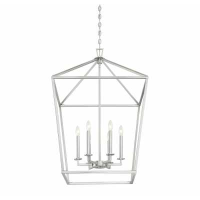 Israel 6-Light Lantern Geometric Pendant - Satin Nickel - Birch Lane