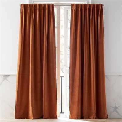 """Velvet Copper Curtain Panel 48""""x84"""" - CB2"""