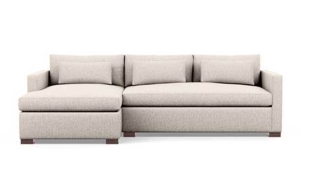 """106"""" Charly Sectionals in Wheat Fabric with Oiled Walnut legs and 2 cushions - Interior Define"""