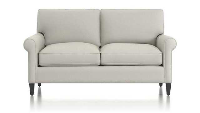 Montclair Roll Arm Loveseat, Fabric:Avalanche, SnowLeg:Blac - Crate and Barrel