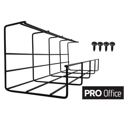 Under Desk Cable Tray - Super Sturdy Cable Organizer for Wire Management. Metal Wire Cable Tray for Office, Studio and Home (Black, 2x16'') - Amazon