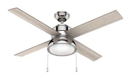 Loki 52 in. Integrated LED Indoor Polished Nickel Ceiling Fan with Light Kit - Home Depot
