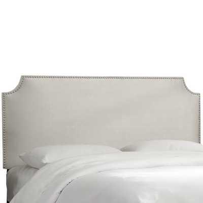 Alamak Velvet Notched Nail Button Upholstered Panel Headboard (California king) - Wayfair