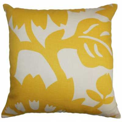 """Fayre Floral Pillow Yellow - 18""""x18"""" with poly insert - Linen & Seam"""