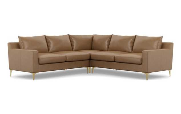 SLOAN LEATHER Leather Corner Sectional Sofa, Palomino with Brass Plated Legs - Interior Define