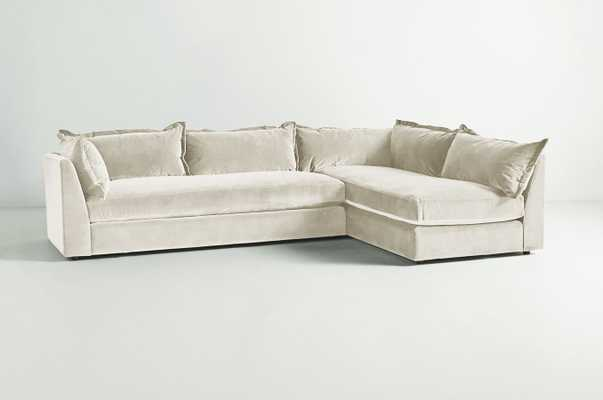 Denver Two-Piece L-Shaped Sectional - velvet in snow - Anthropologie