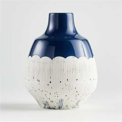 Nightfall Scalloped White and Blue Vase - Crate and Barrel