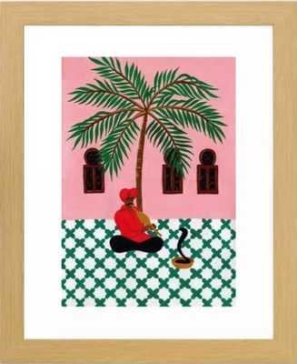 Snake charmer Framed Art Print -  Natural Small - Society6