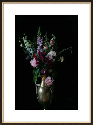 """Flowers in a Vase - 23.5x31.5"""" - Black with Gold Wood Frame with Matte - Artfully Walls"""