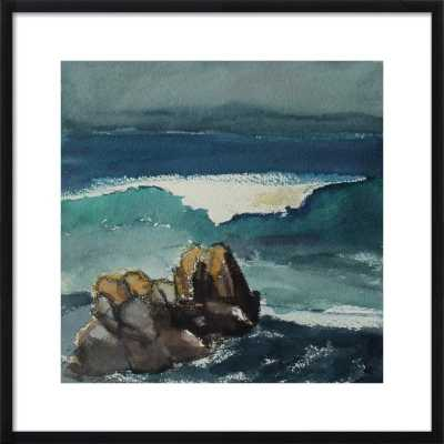 """California Coast, Ocean and Rocks - 24 x 24 - Contemporary - Black Wood, frame width 0.75"""", depth 1.25"""" - With Matte - Artfully Walls"""
