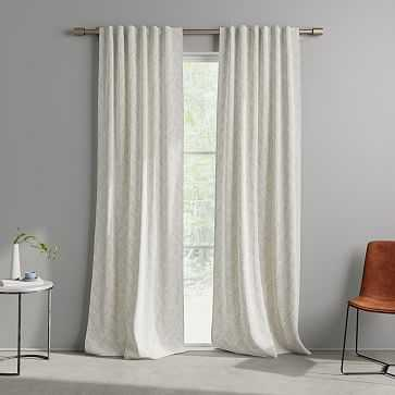 "Cotton Canvas Fragmented Lines Curtains, 48""x108"", Iron Gate - West Elm"