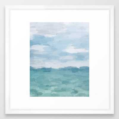Mint Blue White Gray Abstract Wall Art Painting Framed Art Print - Society6