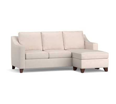 Cameron Slope Arm Upholstered Sleeper Sofa with Reversible Storage Chaise Sectional, Polyester Wrapped Cushions, Performance Heathered Tweed Pebble - Pottery Barn
