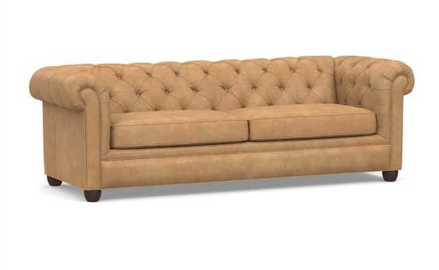 """Chesterfield Roll Arm Leather Grand Sofa 96"""", Polyester Wrapped Cushions, Nubuck Fawn - Pottery Barn"""