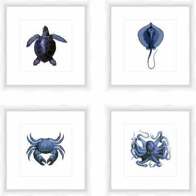 'Sea Creatures' 4 Piece Picture Frame Print Set - Birch Lane