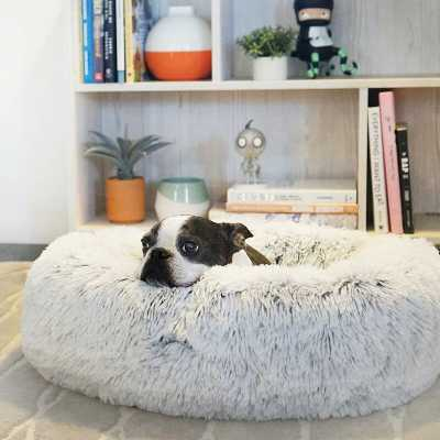 "Extra Large (45"" W x 45"" D x 9"" H) Frost Shag Donut Round Dog Bed Luxury Plush Cuddler Pillow - Wayfair"