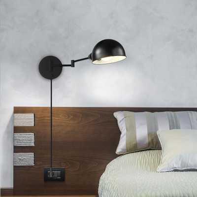 Globe Electric Warner 1-Light Dark Bronze Plug-In or Hardwire Industrial Sconce - Home Depot