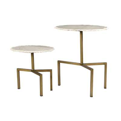 Trinity White Marble Tables - Set of 2 - Maren Home