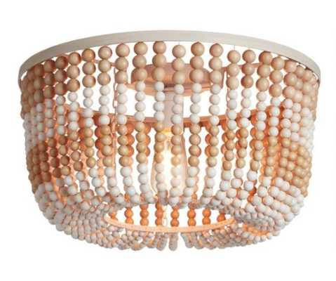 Whitewash And Natural Wood Bead Flush Mount Ceiling Light - World Market/Cost Plus