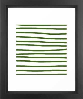 "Simply Drawn Stripes in Jungle Green Framed Art Print, (mini) 10 x 12"" - Society6"