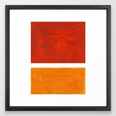 Burnt Orange Yellow Ochre Mid Century Modern Abstract Minimalist Rothko Color Field Squares Framed Art Print - Society6