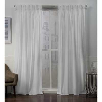 Exclusive Home Curtains Velvet Heavyweight Pinch Pleat Top Curtain Panel Pair in Winter White - 27 in. W x 96 in. L (2-Panel) - Home Depot
