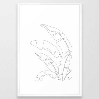 Minimal Line Art Banana Leaves Framed Art Print - Society6
