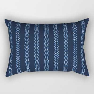 Indigo blue graphic herringbone stitch seamless pattern. Rectangular Pillow - Society6