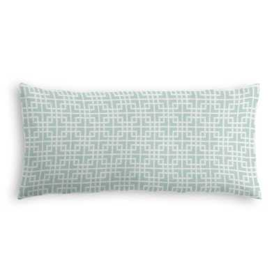 "Aqua Square Lattice Large Lumbar Pillow, 12"" x 24"" with Down Insert - Loom Decor"