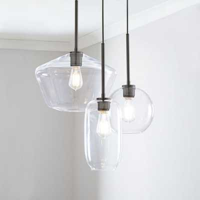 Sculptural Glass 3-Light Round Mixed Chandelier, S Globe,-M Pebble,-L Geo, Clear Shade - West Elm